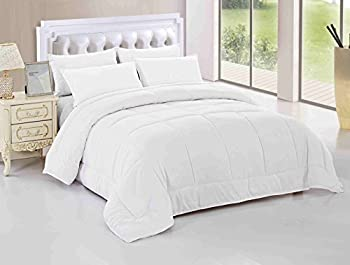 Maiija Year-round Comfy Light Weight Warm Goose Down Alternative Box Stitch Comforter, Hypoallergenic, Plush Siliconized Fiberfill, Brown,Navy Blue,Grey White (King, White)