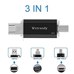 USB C Drive 32GB Flash Drive 100% Real Capacity 3 IN 1 OTG USB drive 2.0 Waterproof Data Storage USB-C stick Flash Memory Stick with Micro Slot for Samsung Mobile Phones Tablets Macbook