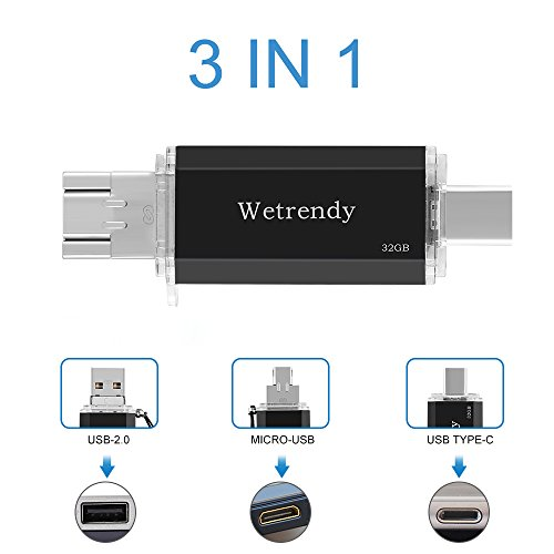 USB C Drive 32GB Phone USB Drive,100% Real Capacity 3 IN 1 (Type-C/ Micro USB/USB 2.0) OTG Flash Drive Waterproof Storage Thumb Drive for Macbook Andriod Mobile Phone Tablets Samsung (black_32GB)