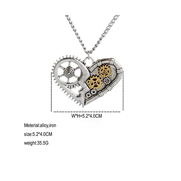 AOLO Vintage Silver Heart Pendant Necklace Gear Charm Steampunk Necklaces 5