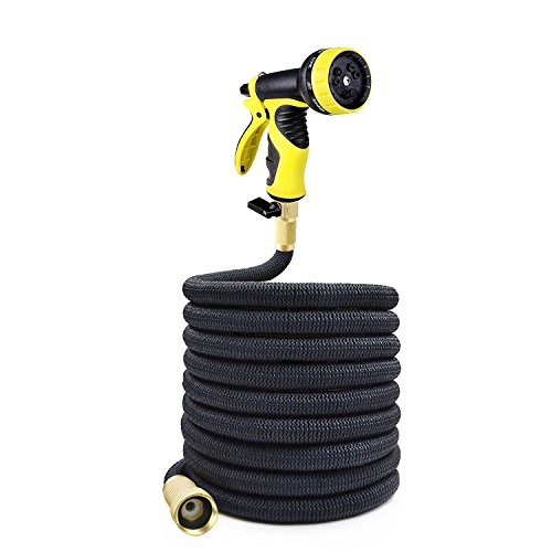 25ft Premium Strongest Magic Garden Hose Flexible Expandable Stretch Hosepipe with 9-pattern Spray Nozzle for all Watering Needs - Black