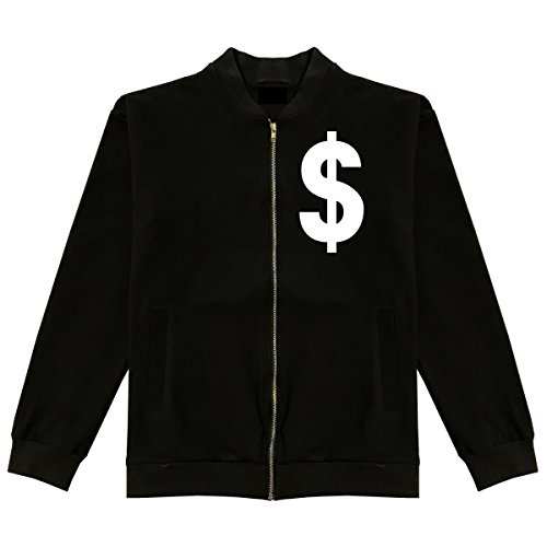 Dollar Sign Simple Chest Classic Bomber Jacket X-Large Black
