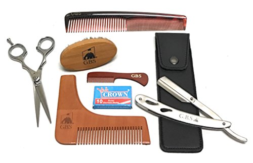"GBS Beard Pro Shaping Set- 5.25"" Trimming Scissors, Barber Shavette Switchblade Style Razor, Shaping Template Tool, Boar Bristle Beard Brush,7"" Dressing Comb, Pocket Mustache Comb & Pack of Blades"