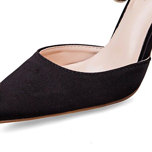 Womens Aiguilles Tige Noires Satin Fermeture Pointes Adeesu Chaussures Sans Basse Talons De Pompes waIAXnBq