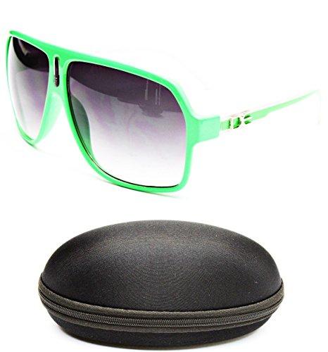 D1045-cc Designer Eyewear Turbo Aviator Sunglasses (149 Neon Green/White, gradient)]()