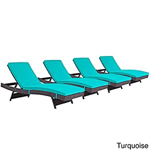 Modway Gather Chaise Outdoor Patio Set of 4 Espresso Turquoise