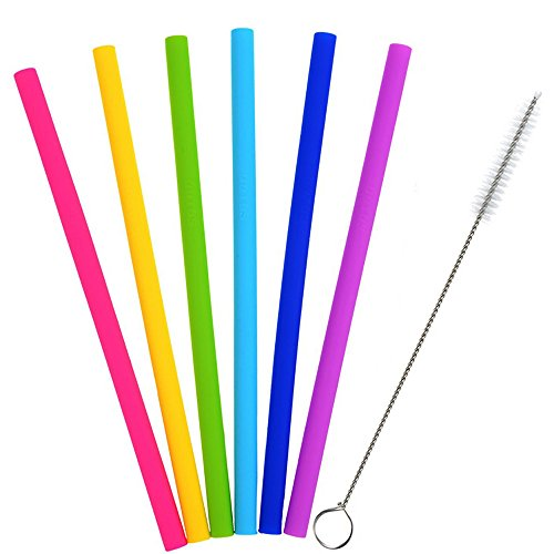 Price comparison product image Buybuybuy Reusable Smoothie Straws,  6PC Extra Long Flexible Silicone Replacement Smoothies Straws With Cleaning Brushes