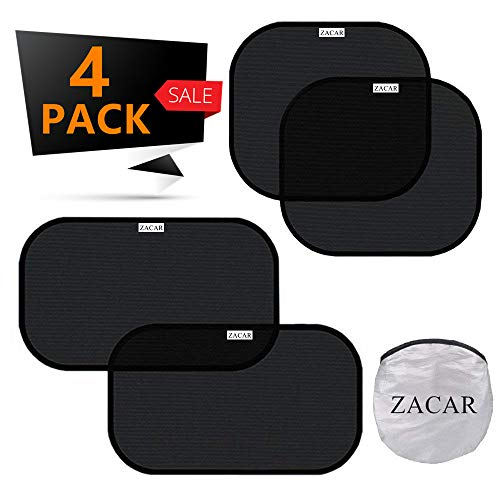 Car Window Shade (4 Pack), ZACAR Cling Car Window Shades for Baby, 80 GSM Car...