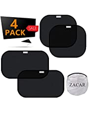 """Car Window Shade (4 Pack), ZACAR Cling Car Window Shades for Baby, 80 GSM Car Sun Shade Protect Your Baby in the Back Seat from Sun Glare UV Rays,2 Pack 20""""x12"""" and 2 Pack 17""""x14"""" for Side Window"""
