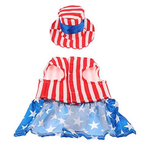 Flameer Ropa De La Bandera De Los EEUU del Perro - Capa Cómoda De La Hembra del Animal Doméstico - Disfraces De Halloween...