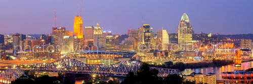 Cincinnati Skyline PHOTO PRINT UNFRAMED DUSK Color City Downtown 11.75 inches x 36 inches Photographic Panorama Poster Picture Standard Size