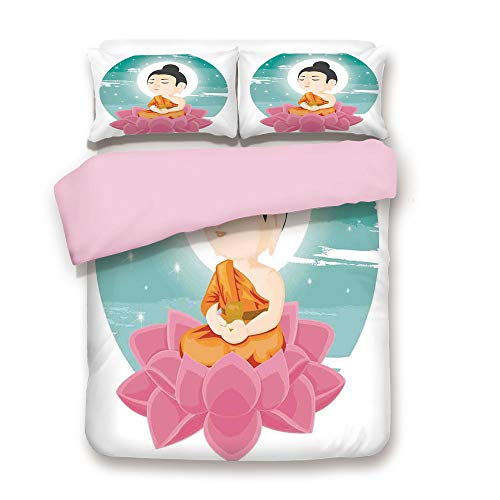 - Pink Duvet Cover Set,Queen Size,Illustration of a Lotus Flower Meditating with Moon Light Sage Art Print Decorative,Decorative 3 Piece Bedding Set with 2 Pillow Sham,Best Gift for Girls Women,Multi