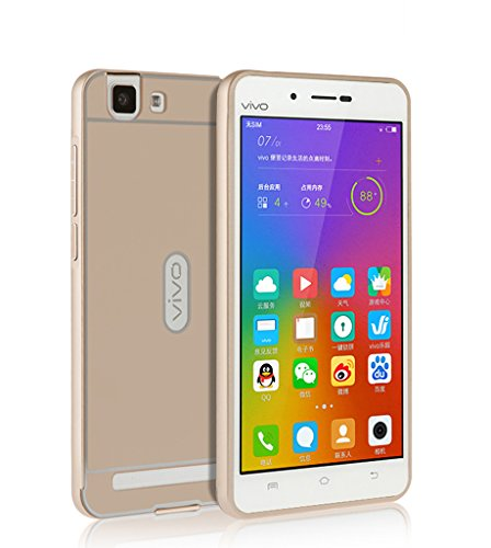 Vivo X5 Max Case, Vistore stylish Ultra Thin Lightweight Durable Shockproof CNC Aluminum Metal Bumper Frame Case with Hard PC Back Cover(Champagne)
