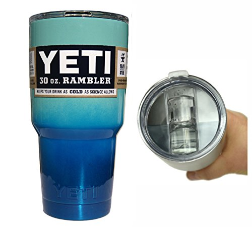 YETI Coolers 30 Ounce (30oz) (30 oz) Custom Rambler Tumbler Cup Mug with Exclusive Spill Resistant Lid (Ocean Ombre)