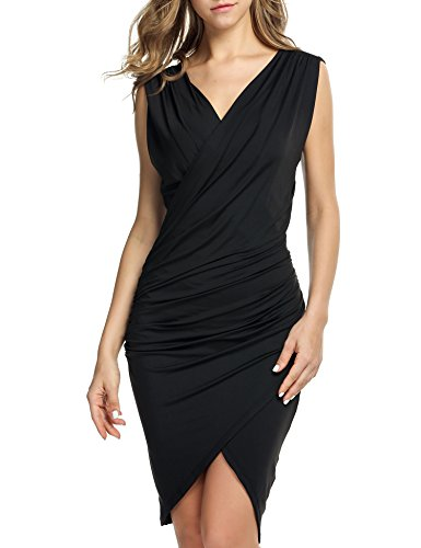 ANGVNS Women's Cowl Neck Sleeveless Pencil Bodycon Ruched Dress(Black XXL)