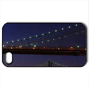 waterfall under brooklyn bridge - Case Cover for iPhone 4 and 4s (Bridges Series, Watercolor style, Black)
