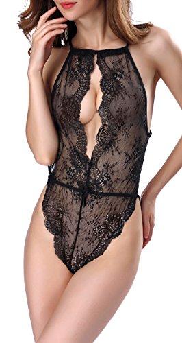 Blidece Sexy Lingerie for Women America back piece pajamas Teddy One Piece Lace Babydoll Bodysuit Black S - Plus Size Lingerie Sexy Cheap 5x