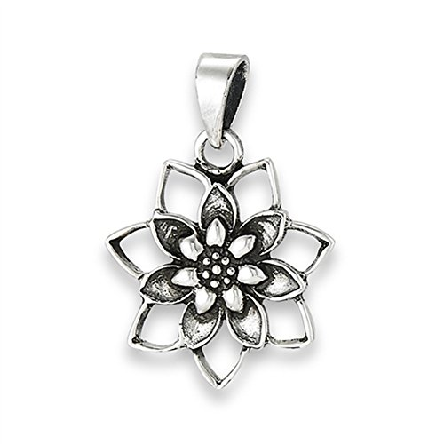 Floral Lotus Pendant .925 Sterling Silver Cutout Detailed Flower Oxidized Charm