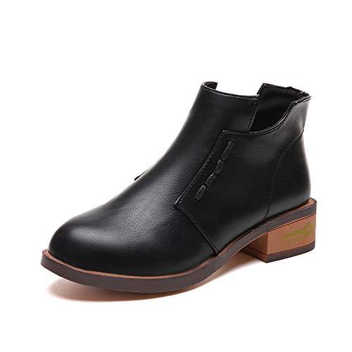 con ZHRUI EU Marrone con caviglia basso donna Nero Colore cinturino Chelsea tacco alla Dimensione Scarpe 38 da YfwgrY