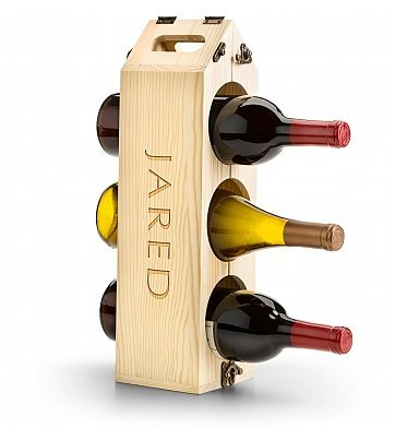 Gifttree Personalized Convertible Wood Wine Rack 3 Bottle Carrier Converts To 12 Bottle Wine Rack Engrave Up To 14 Characters Wine Lover S Gift