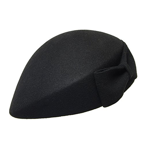 Dream Amy Traditional French100% Wool Beret (21.65in~22.44in, Black)
