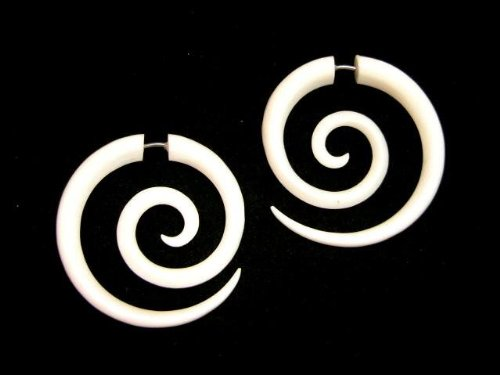 Spirals Buffalo Bone Split Expander Organic Earrings Fake...