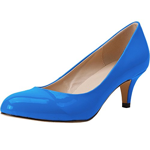 Womens Dress Pumps Toe Blue Fashion Party High Pointed Wedding Shoes Dark Patent Heel Dethan Leather RwqTdRP