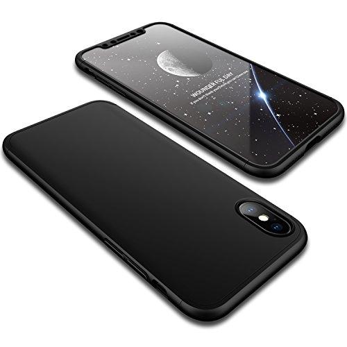 آیفون X / XS Case ، Wellily Ultra Slim Thin 360 درجه محافظت کامل از بدن سخت سخت PC Premium Case Hybrid Anti Fingerprint Scratches Grip Soft Cover for iPhone X / XS 5.8inch (2017) - سیاه