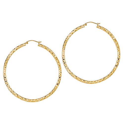 Designs by Nathan 14k Yellow Gold Plated 925 Silver Diamond Cut Wavy Hoop Earrings (sizes vary)) ((55x55mm about 2 and 1/4 inches)) by Designs by Nathan