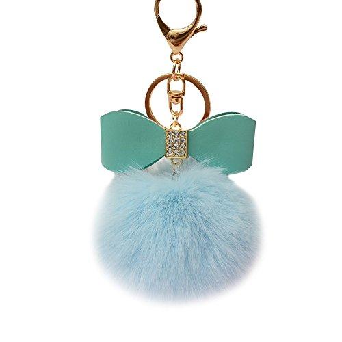 SUPPION Fluffy Faux Rabbit Fur Ball Bowknot Charm Car Keychain Handbag Key Ring (Light Blue)