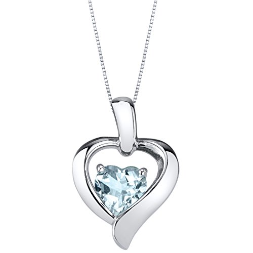 (Aquamarine Sterling Silver Heart in Heart Pendant Necklace)