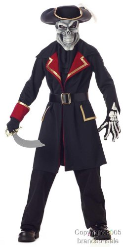 [Child's Captain Scurvy Skull Pirate Halloween Costume (Size: Medium 8-10)] (Ghost Baby Halloween Costume)