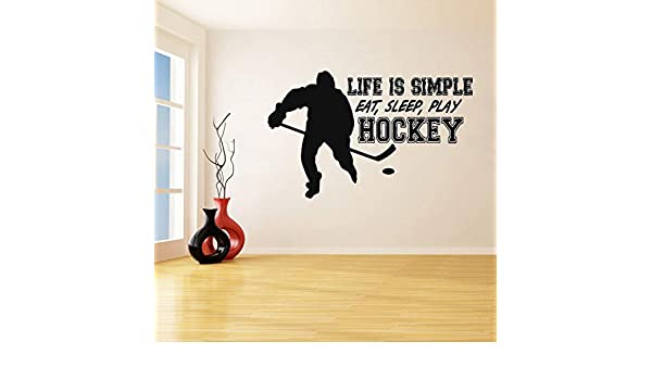 ONETOTOP Life Is Simple Eat Sleep Play Hockey Pegatinas de Pared ...