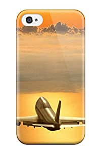 New Premium Flip Case Cover Fantasy Of Flight Big Passenger Airplane Boeing Above Clouds Sunset Light Man Made Aircraft Skin Case For Iphone 4/4s