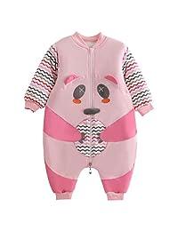 Baby Boys Girls Sleepwear Winter Cotton Zip Long Sleeve Pajamas for 3-24 Months