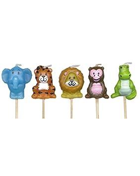 5 Mini Velas de * Animales de la jungla * en soporte de madera para fiestas y cumpleaños//Velas para tarta Decoración para tartas Candle elefante león ...