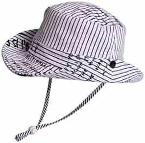 Yuchoi Sun Children Alphabet Stripe Sun Protection Hat Sun Visor Kids  Fisherman Hat Bucket Hat for 52ddd2219db7