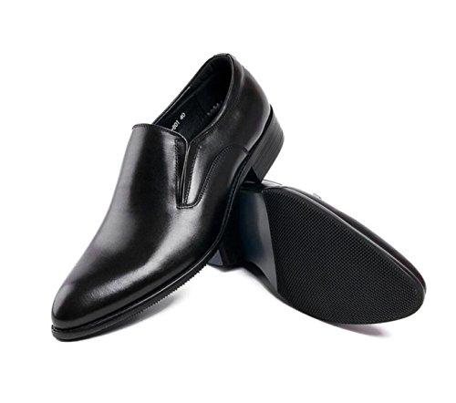 GRRONG Zapatos De Cuero De Los Hombres De Negocios Vestido Formal Del Banquete Negro Y Marrón Black