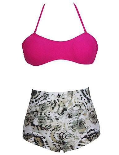 ZQ encanto de las mujeres Bandeau cintura alta bikini, fuchsia-m, medium fuchsia-m