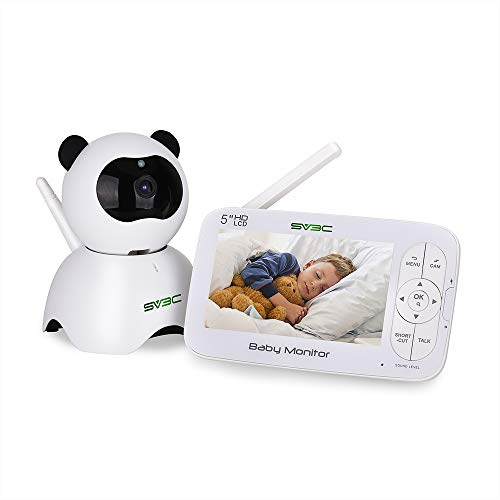 Baby Monitor,SV3C 720P Video Baby Monitor with Camera and Audio, 5 LCD HD Screen Night Vision, Pan Tilt Zoom Camera,Two-Way-Talk,Temperature Monitor,Sound Detection,Lullabies,Range up to 900ft