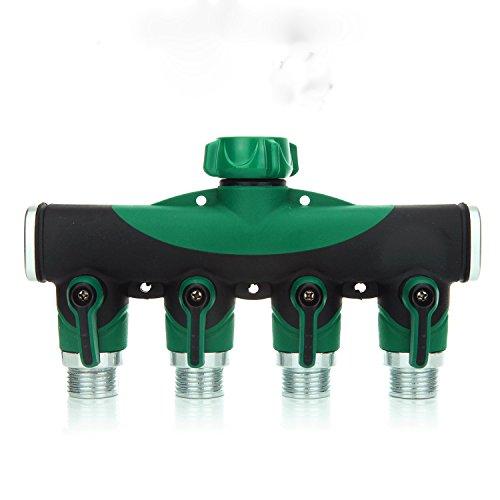 SIPIK 4 Way Hose Splitter, Hose Splitter for Garden 4 Way Water Tap Converter Connector Splitter Hose Pipe Adapter Garden Irrigation Watering(8.07 x 4.72 x 1.87).