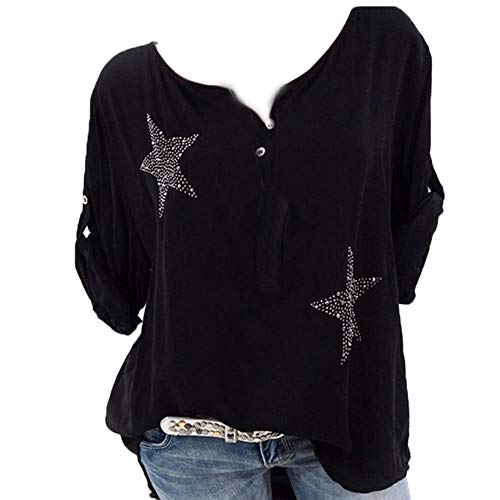 Aniywn Plus Size Women's Button Roll Up Blouse Casual 3/4 Sleeve Star Printed Tops T-Shirt Black