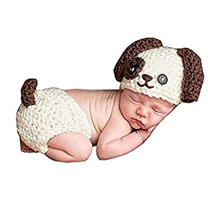 Newborn Baby Crochet Knitted Dog Photo Photography Props Handmade Unisex Baby Hat Diaper Outfit (Dog)