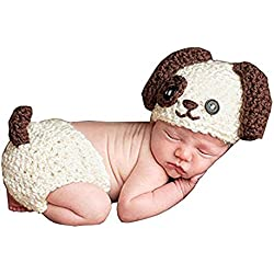 7879aeda9a4 Baby Boy Crochet Knitted Dog Photo Photography Props Handmade Unisex Baby  Hat Diaper Outfit (Dog