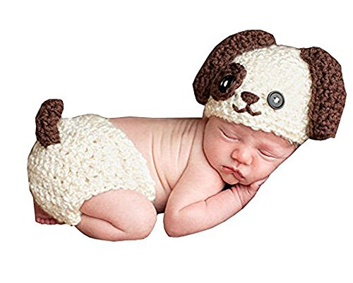 Newborn Baby Crochet Knitted Dog Photo Photography Props Handmade Unisex Baby Hat Diaper Outfit (Dog) - Baby Girl Dog Costume