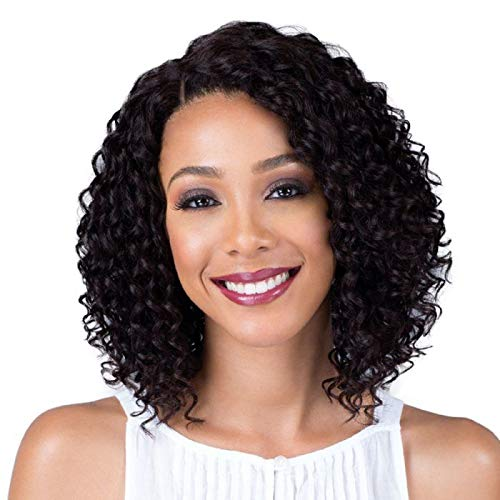 (Gem Beauty Brazilian Deep Wave Hair Bob Wig Unprocessed 100% Human Hair Lace Front Wig Short Curly Hair Wig for Black Women 10 inch)