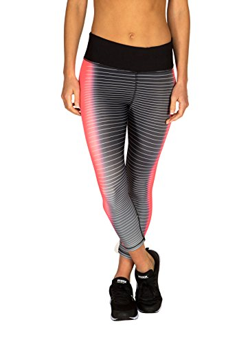 RBX Active Women's Stripes & Streaks Printed Capri Black/Pink M