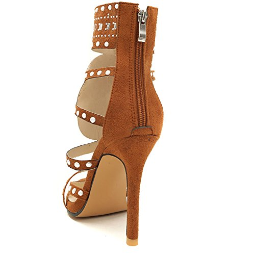 Cremallera Zplshoes Sandalias Peep Toe brown uk7 Para De eu40 Plástico Las Botas Transparente Tacones Mujeres Zapatos Atractivas Nueva Cortas qOfxBwgqr