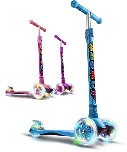 GOOGO Kick Scooter For Kids 3 Wheel Lean To Turn 4 Adjustable Height PU Wheels For 3-13 Year Old Blue ()