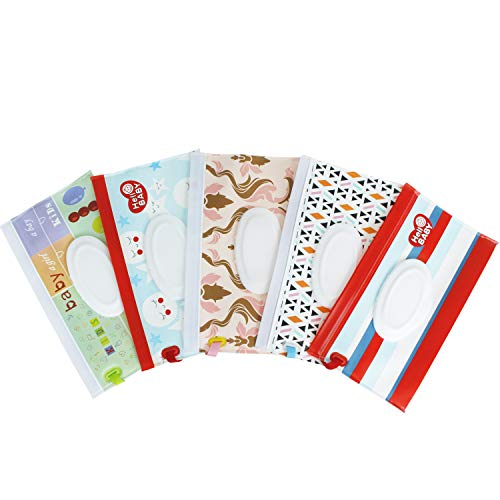 Reusable Wet Wipe Pouch [Set of 5] - Dispenser for Personal Wipes,Wet Wipe Portable Travel Cases